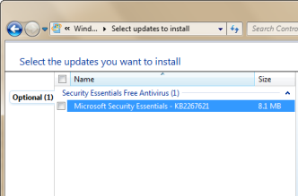MS Security Essentials в Windows Update